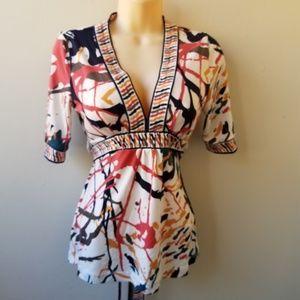 Women's Multi-Color 1/2 Sleeve Tie Waist Blouse